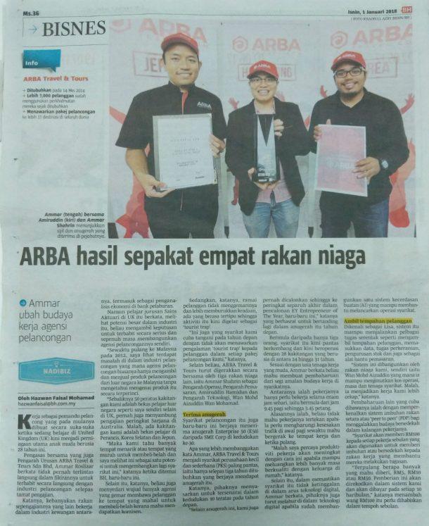 ARBA Travel Di Berita Harian